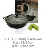 Queen Sense 3D PTFE coating Jumbo Wok with Glass Lid 36cm